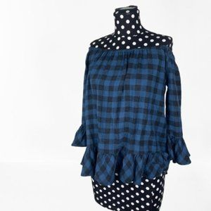 beachlunchlounge Blue Check off shoulder top XS